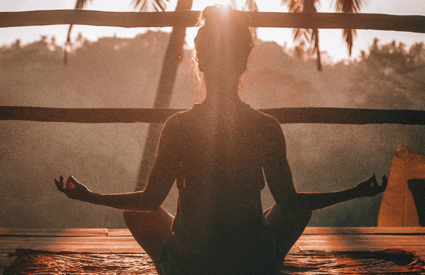 sunset yoga lady
