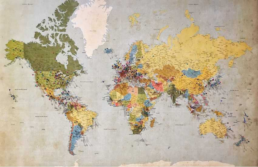 antique map with pins
