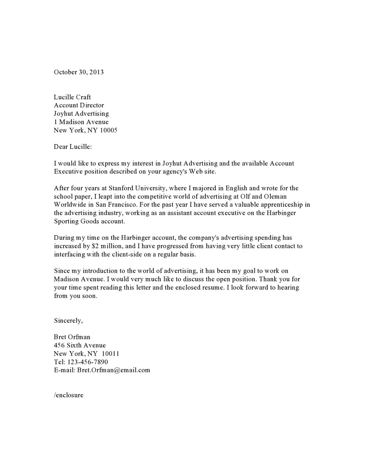 Cover Letter Examples Samples Templates
