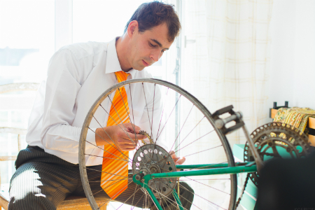 Man working on a bike