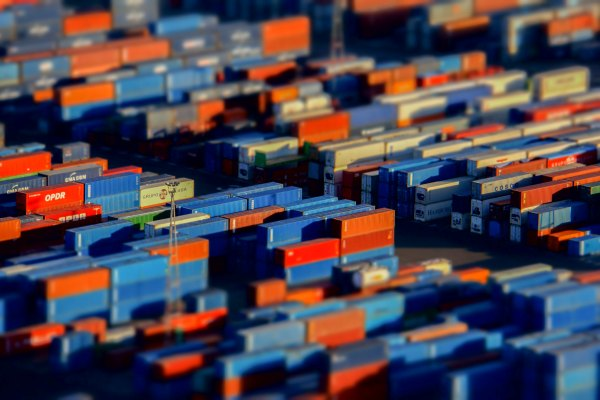 Aerial photo of shipping containers in port