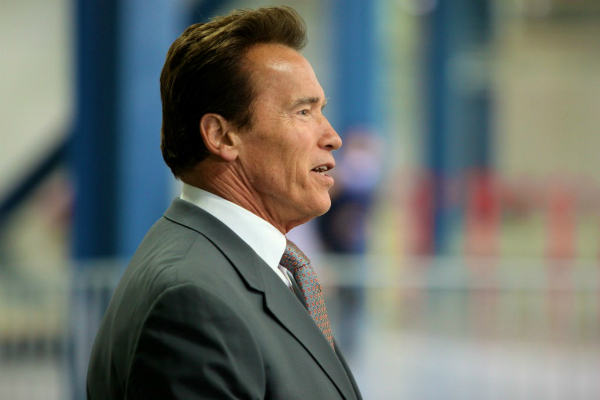 Arnold Schwarzenegger giving a speech