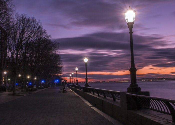 Street lights Hudson River