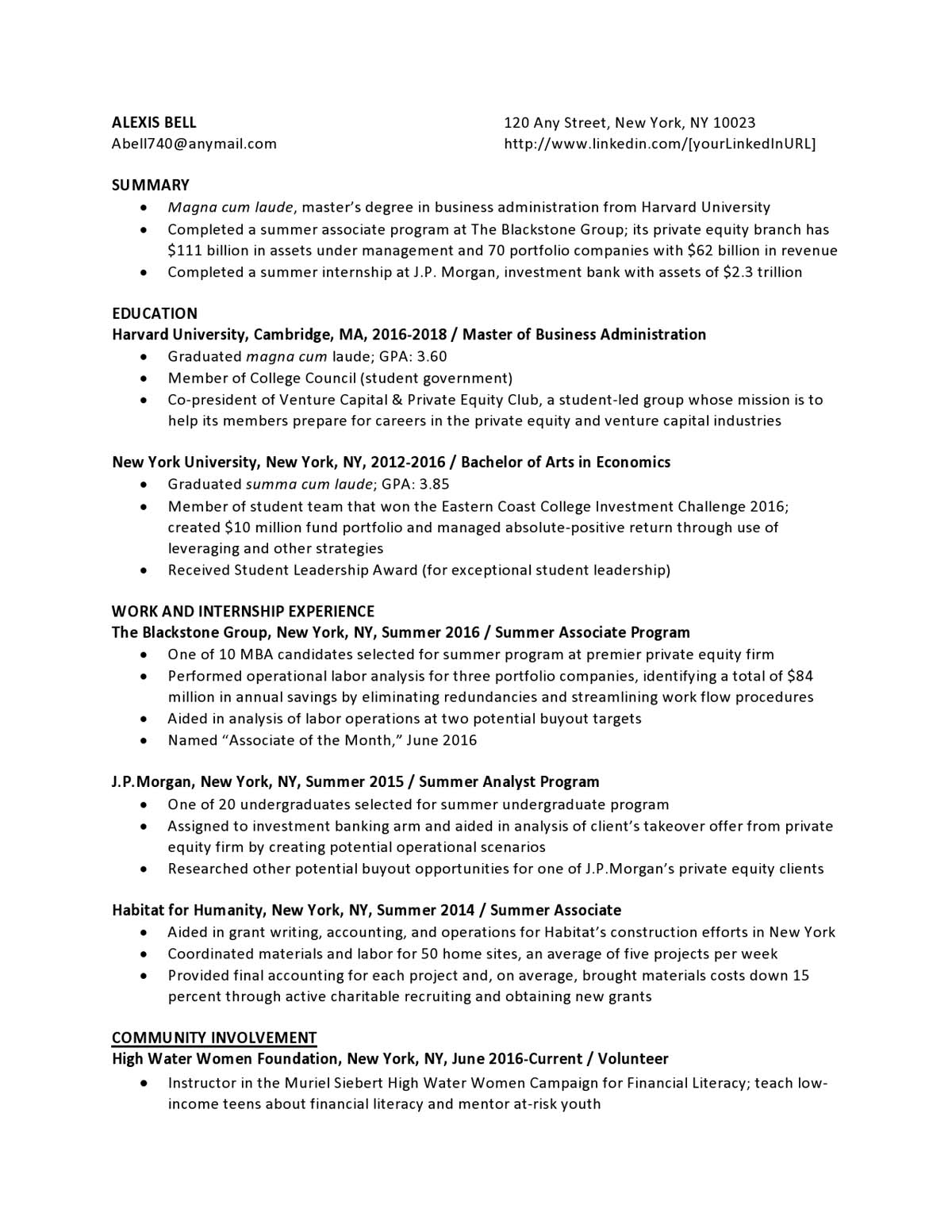 Private Equity Entry Level Resume Samples Templates Vault Com