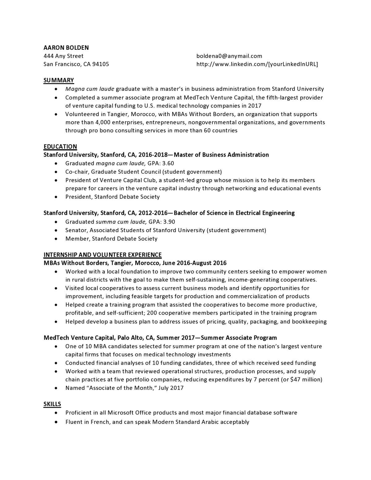 Venture Capital Entry Level Resume Samples Templates Vault Com