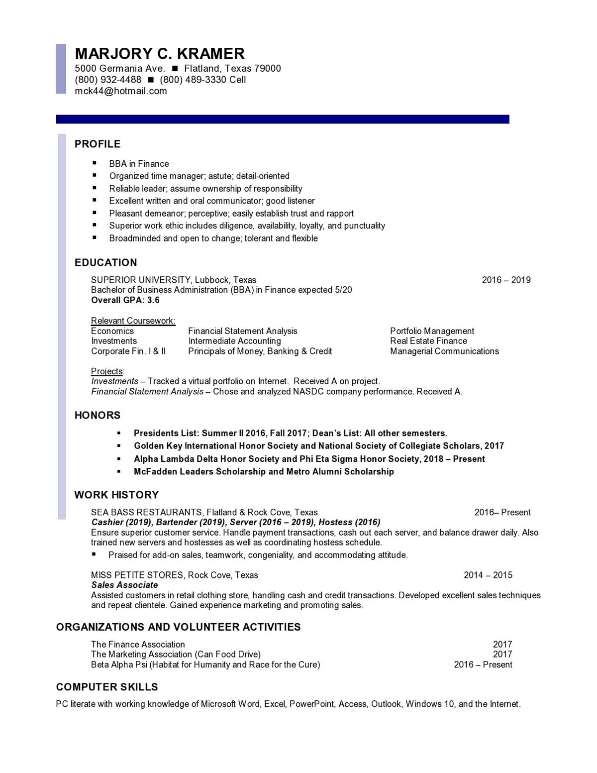 Finance Entry Level Resume Samples Templates Vault Com