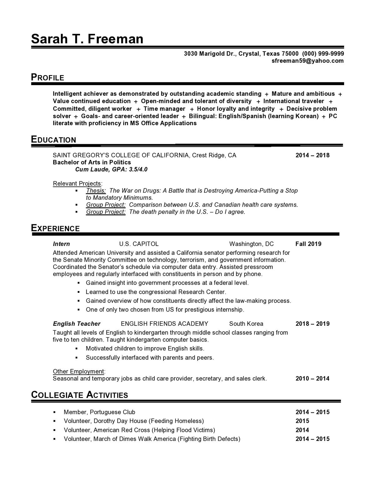 Government Entry Level Resume Samples Templates Vault Com