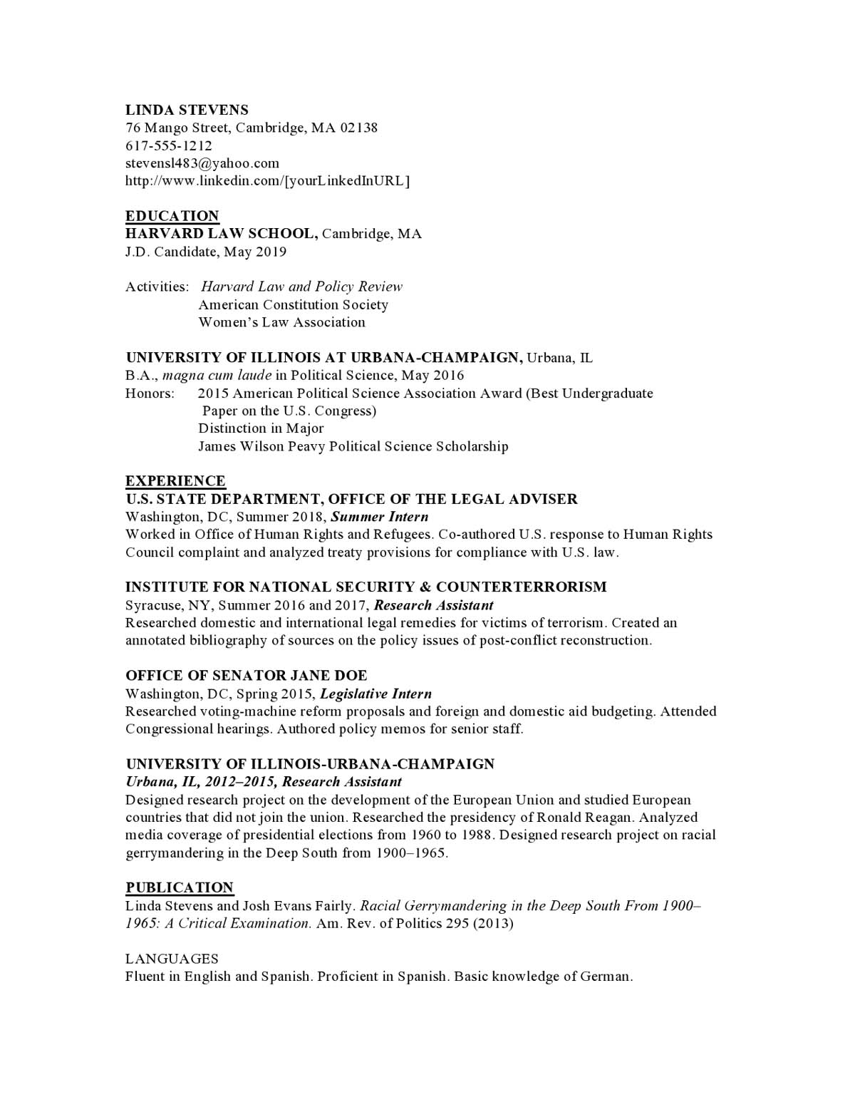 Law Entry Level Resume Samples Templates Vault Com
